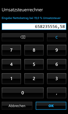 Windows Phone 7 App - Umsatzsteuerrechner